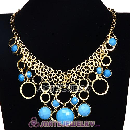Gold Chain Multilayer Turquoise Resin Choker Bib Necklaces Wholesale
