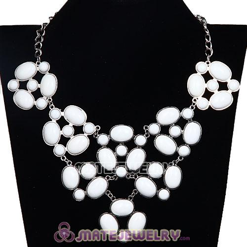 Silver Chain Retro Style Ellipse White Resin Gemstone Choker Bib Collar Necklace