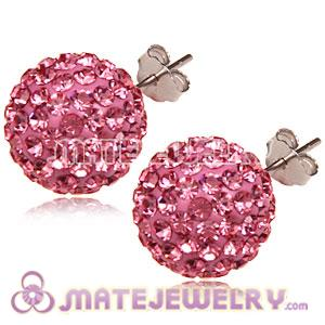 12mm Sterling Silver Pave Pink Czech Crystal Ball Stud Earrings