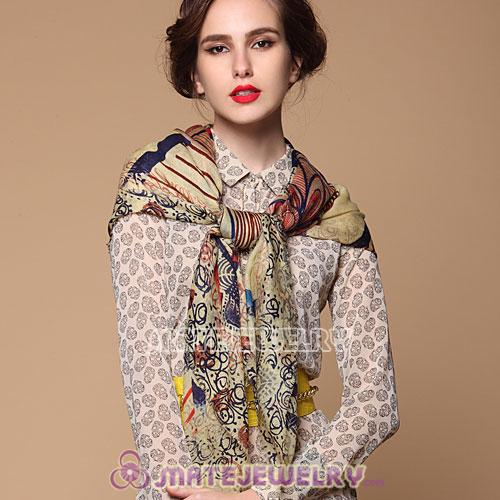 Cashmere Wool Printed Square Head Scarf Pashmina Shawl Scarves For Women