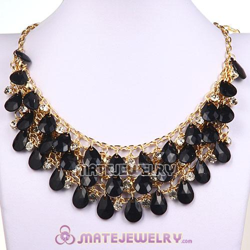 Multilayers Cascade Black Resin Crystal Bubble Bib Necklaces Wholesale