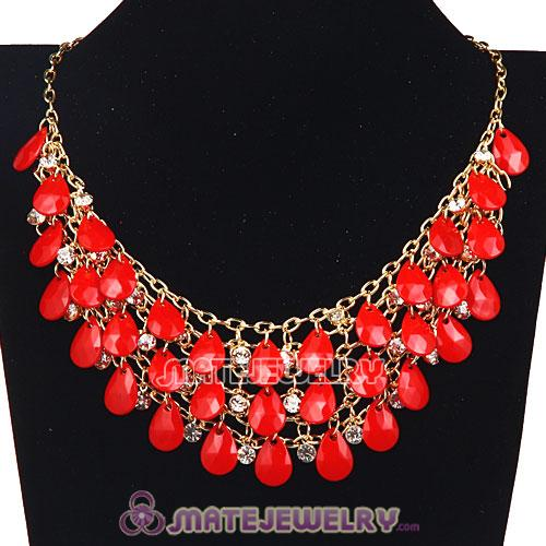 Multilayers Cascade Coral Red Resin Crystal Bubble Bib Necklaces Wholesale