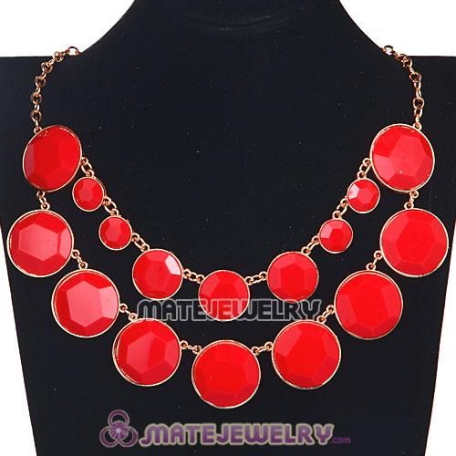 2012 Women Red Resin Bubble Bib Statement Necklaces