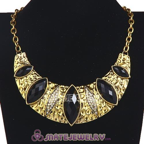 Vintage Golden Resin Geometry Crescent Choker Collar Necklace