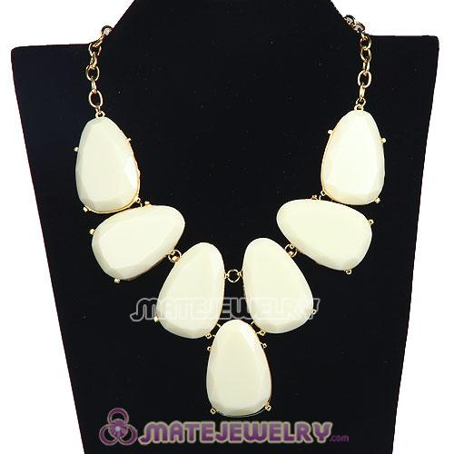 Wholesale Cream Chunky Resin Teardrop Choker Collar Necklace