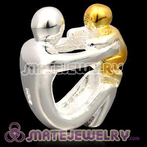 Wholesale Gold Plated Sterling Silver European Paternity Charms Beads