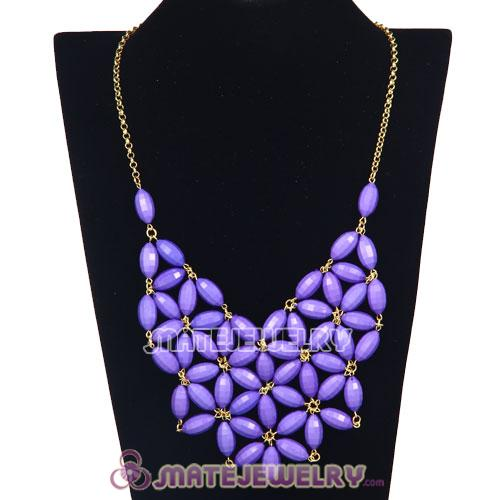 2012 New Fashion Purple Bubble Bib Statement Necklace