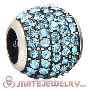European Sterling Silver Aquamarine Pave Lights With Aquamarine Austrian Crystal Charm