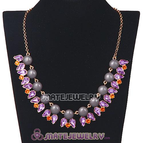 2013 New Fashion Crystal Dewdrop Grey Resin Bubble Necklace Jewelry