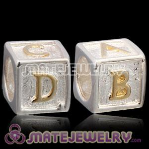 European Silver Bead with Gold Letters