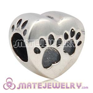 Wholesale European Sterling Silver Heart Footprint Paws Charm Bead