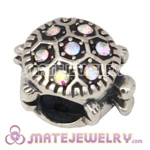 925 Sterling Silver European Turtle Charm Bead With Crystal AB Austrian Crystal