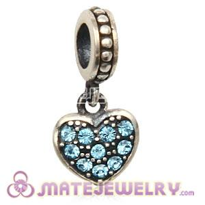 Sterling Silver European Aquamarine Pave Heart Dangle With Aquamarine Austrian Crystal