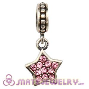European Sterling Light Rose Pave Star Dangle With Light Rose Austrian Crystal