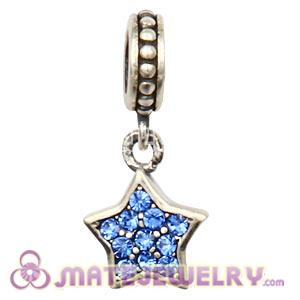 European Sterling Sapphire Pave Star Dangle With Sapphire Austrian Crystal