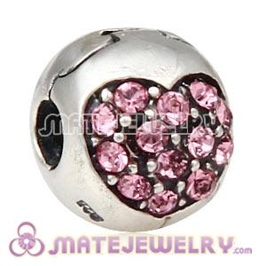 925 Sterling Silver Love Of My Life Clip Beads With Light Rose Austrian Crystal