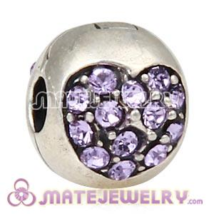 925 Sterling Silver Love Of My Life Clip Beads With Violet Austrian Crystal