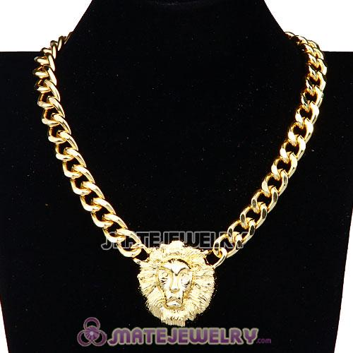 Lion Head Pendant Gold Plated Chunky Chain Choker Necklace