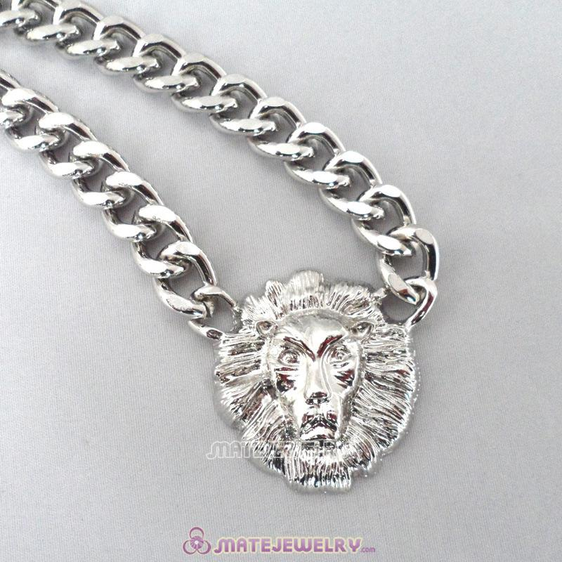 Lion Head Pendant Silver Plated Chunky Chain Choker Necklace