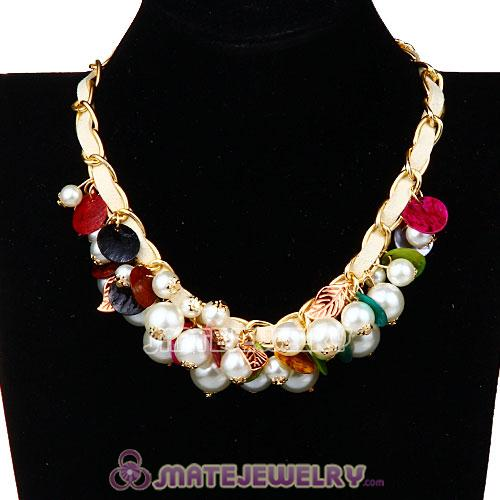 Luxury Imitation Pearl Beaded Bubble Bib Necklace Wholesale