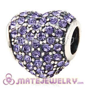 European Sterling Silver Tanzanite Pave Heart With Tanzanite Austrian Crystal Charm
