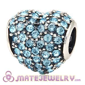European Sterling Silver Aquamarine Pave Heart With Aquamarine Austrian Crystal Charm