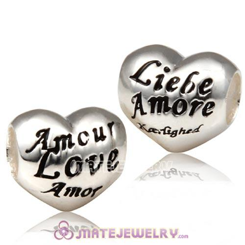 European Sterling Silver Love Heart Charm With I Love You In Different Languages