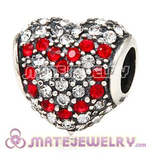 European Sterling Silver Pave Heart Red Heart With Austrian Crystal Charm