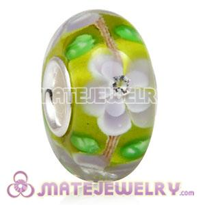 Handmade European Glass Flower Blossom Beads Inside Cubic Zirconia In 925 Silver Core