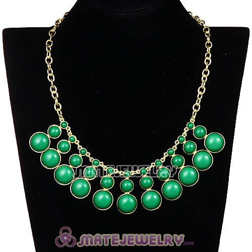 Fashion Dark Green Resin Bubble Choker Bib Statement Necklace