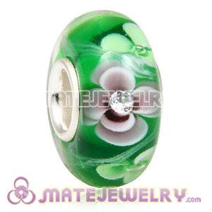 Handmade European Glass Flower Beads Inside Cubic Zirconia In 925 Silver Core