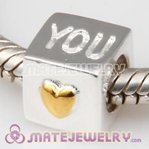 2011 Love you gold plated heart bead charms