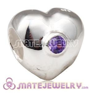 European Sterling Puffy Heart with Purple Cubic Zirconia Bead
