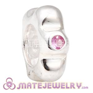 Sterling Silver Pink CZ Spacer European Bead