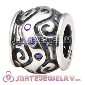 antique silver beads with purple CZ stones