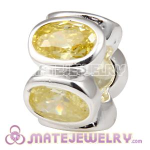 European Sterling Champagne Oval Lights Bead