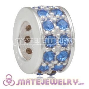 European Sterling Silver Spacer Beads with Sapphire Austrian Crystal