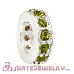 European Sterling Silver Spacer Beads with Olivine Austrian Crystal