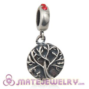 Sterling Silver Tree of Life Dangle Beads with Light Siam Austrian Crystal