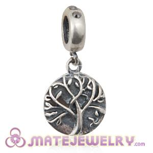 Sterling Silver Tree of Life Dangle Beads with Jet Hematite Austrian Crystal