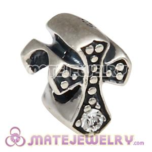 925 Sterling Silver European Cross Charm Bead with Crystal Austrian Crystal