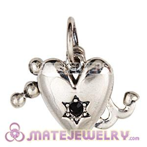 Sterling Silver Dangle Faith Love and Charity with Jet Austrian Crystal Charm