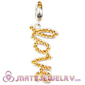 Sterling Silver Love Letters Dangle Beads with Topaz Austrian Crystal