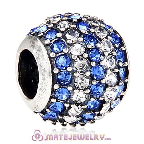 2013 European Sterling Silver Pave Lights With Crystal Sapphire Austrian Crystal Charm