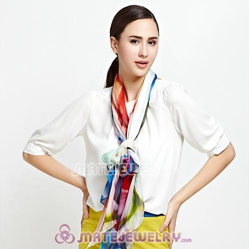 Mulberry Silk Scarves Digital Painting Dream Of the rainbow Pashmina Shawls Wholesale