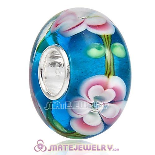 Top Class European Flower Glass Bead with 925 Silver Core
