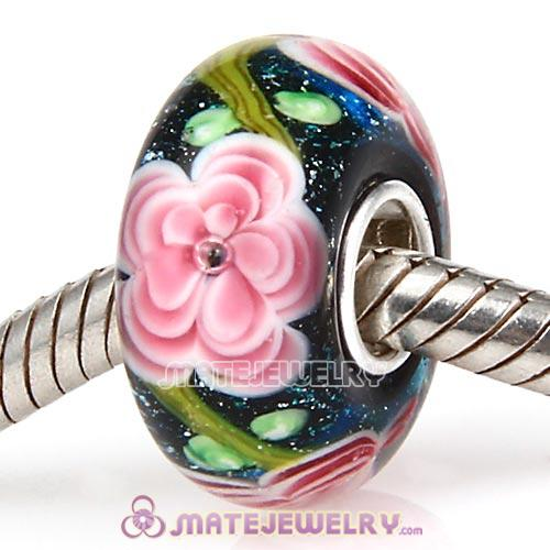 Handmade Multilayer Flower European Glass Beads in 925 Silver Core