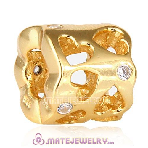 Gold plated Hollow Love European charms with Stone