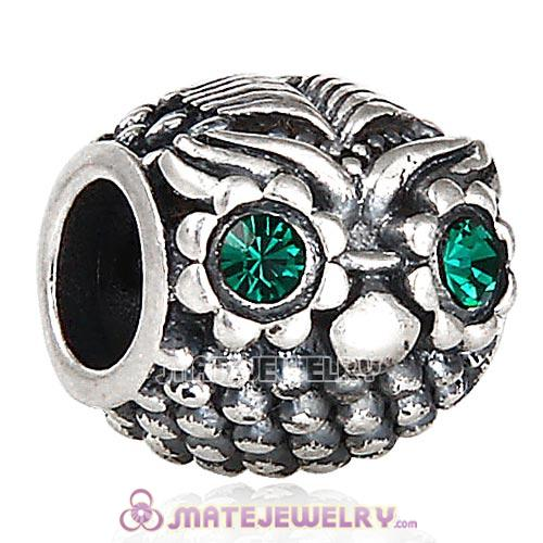 Antique Sterling Silver Wise Owl Charm Beads with Emerald Austrian Crystal