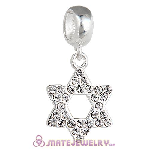 Sterling Silver Star Of David with Clear Austrian Crystal Dangle Beads